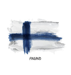 realistic watercolor painting flag of finland vector image