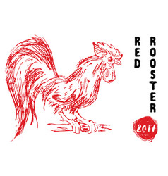 Red rooster or cock symbol of 2017 year hand vector