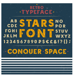 retro font letters numbers and symbols vector image