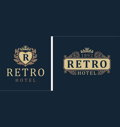 retro hotel letter emblem r in heart with crown vector image