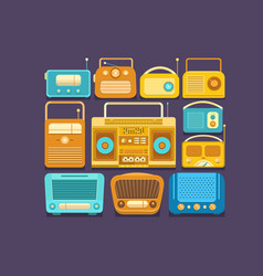 retro tape recorders and radios vector image