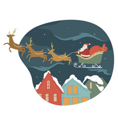 santa claus on sled with reindeers giving presents vector image