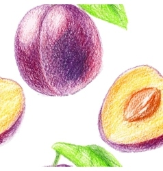 Seamless pattern with sweet plum vector