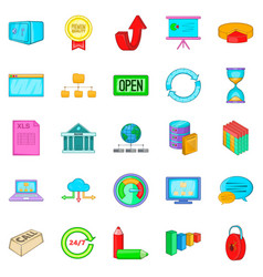server hacking icons set cartoon style vector image