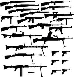 Set guns ww2 vector