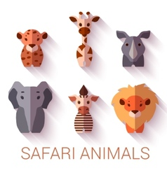 Set of six Safari animals on white background vector