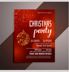 shiny red christmas party invitation flyer design vector image