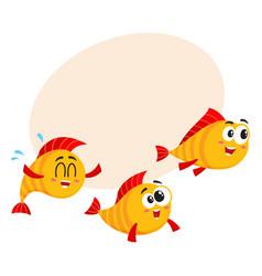 Shoal of three funny golden yellow fish vector