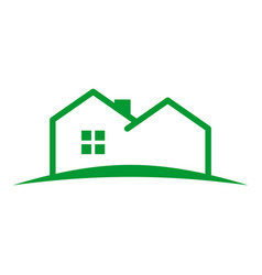 Simple outline house land vector