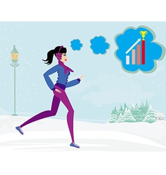 slim girl running in winter vector image