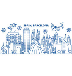 Spain barcelona winter city skyline merry vector