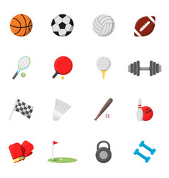 sports icons set pictures in flat style vector image