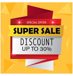 super sale special offer discount up to 30 vector image