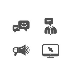 Support service megaphone and happy emotion icons vector