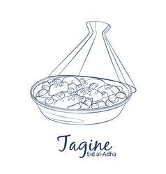 tagine with chicken meat and vegetables icon vector image