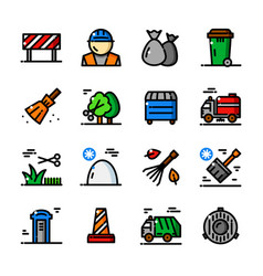 thin line municipal services icons vector image