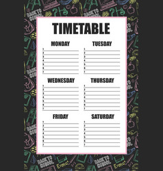 timetable for schools lessons with backpack vector image