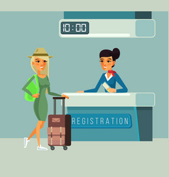 tourist woman character registers for flight vector image
