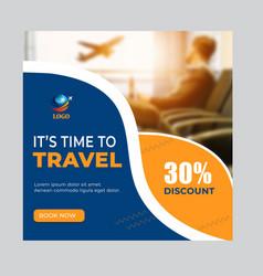 Travel social media add banner layout vector