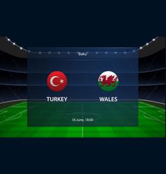 turkey vs wales football scoreboard broadcast vector image