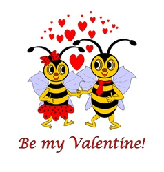 Two funny cartoon bees with words Be my Valentine vector