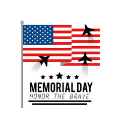 Una flag with airplanes to memorial day vector