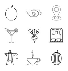 Vegetarian ration icons set outline style vector