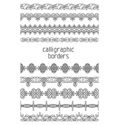 Vintage seamless borders isolated on white vector
