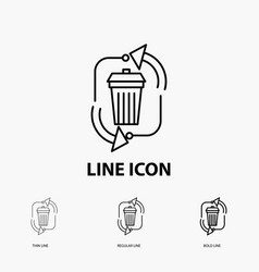 Waste disposal garbage management recycle icon in vector