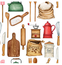 watercolor cooking tools pattern vector image