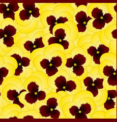 Yellow pansy flower on seamless background vector