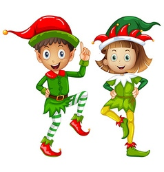 Male and female elves on white background vector image