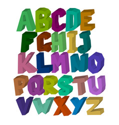 multi-colored square three-dimensional alphabet on vector image vector image