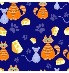 seamless pattern cat and mice vector image
