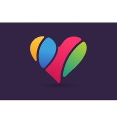 Hearts icon logo together vector image