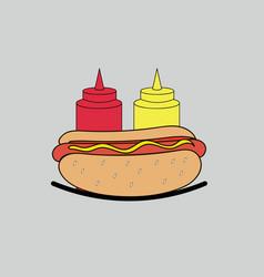ketchup mustard and hot dog vector image