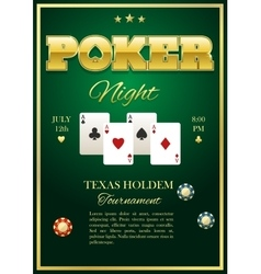 Poker Tournament Poster vector image vector image