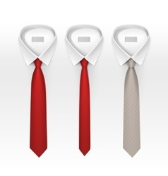 Set of Tied Striped Colored Silk Bow Ties vector image vector image