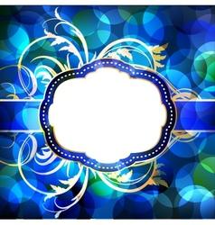 Blue flare lights background with vintage frame vector image vector image