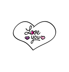 Hand-drawn heart love you icon vector image vector image