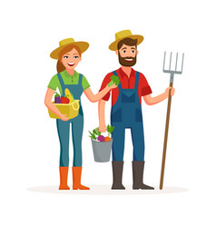 happy farmers flat design isolated on white vector image