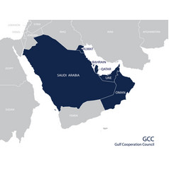 map of the gulf cooperation council gccs vector image