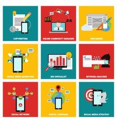 Social media job flat design vector image vector image