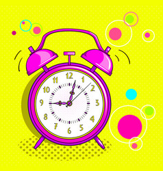 alarm clock pop art vector image