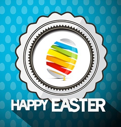 Blue Happy Easter with Abstract Colorful Egg vector image