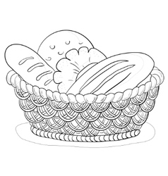 Bread in a basket contour vector