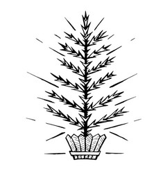 christmas tree stylized in a pot vector image vector image
