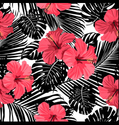 palm pattern black vector image vector image