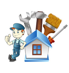 repairman at home with a tool vector image vector image