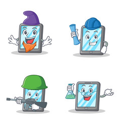 set of tablet character with elf architect army vector image vector image